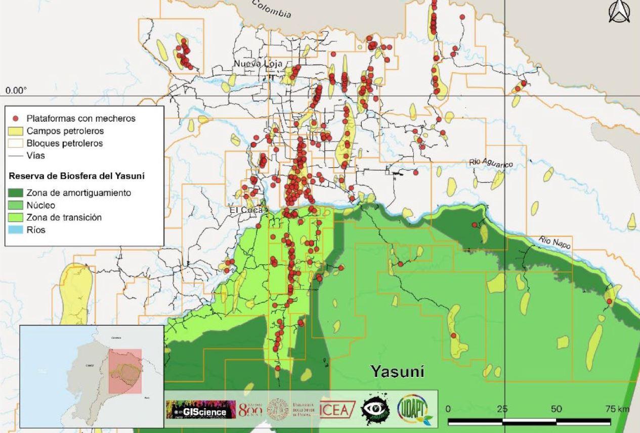 mapa mecheros amazonia ecuador